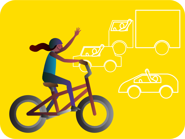 girl biking waving to drivers illustration