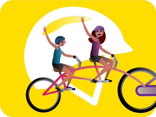 kids on a bike and big helmet illustration
