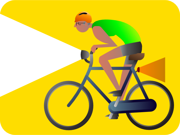 Bike rider with lights illustration