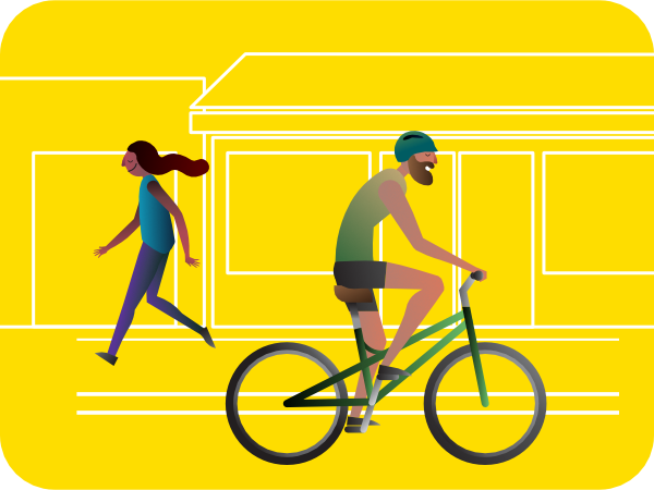 cyclist and pedestrian illustration