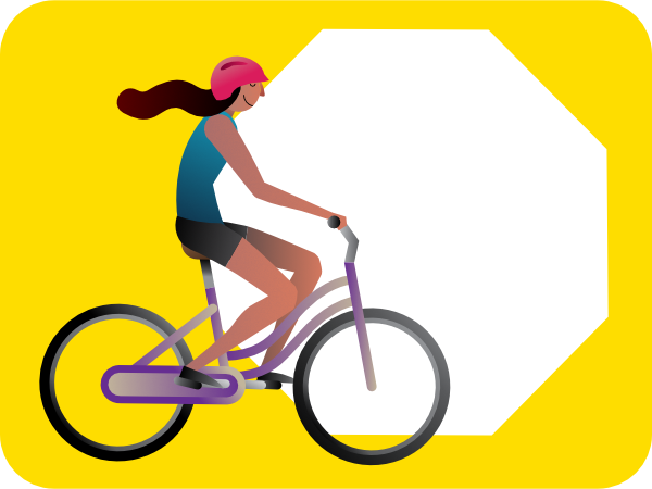 bike rider and stop sign illustration